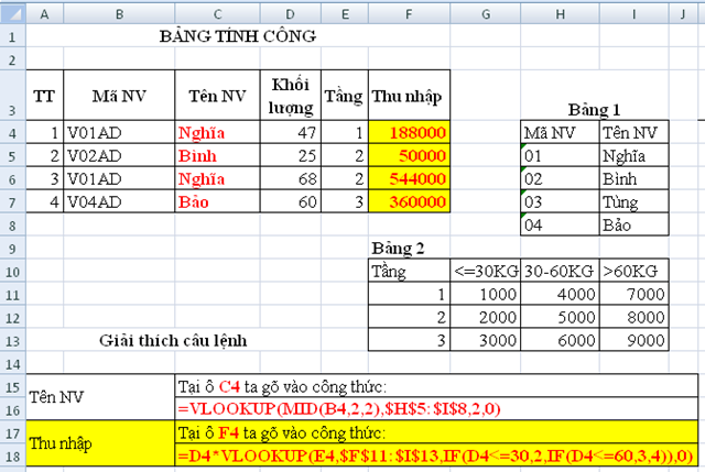 Giải bài tập - Tin học NN - Excel cơ bản - Từ bài 1 đến 13